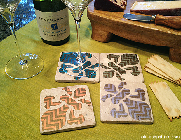 Fleur-de-Lis coasters DIY via Paint + Pattern