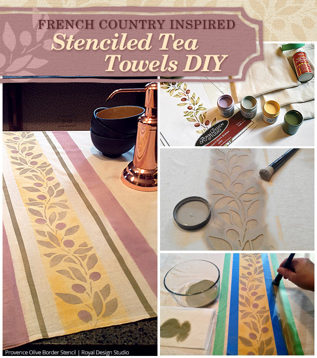 French Country Kitchen Towel Diy Via Paint Pattern