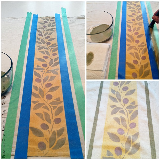 Stenciling borders on French country tea towel DIY via Paint + Pattern