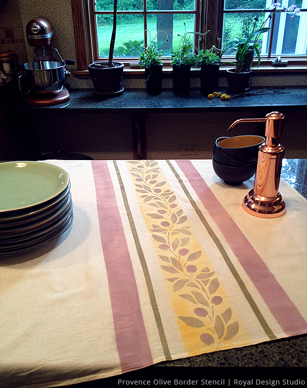 French country stenciled tea towel DIY via Paint + Pattern