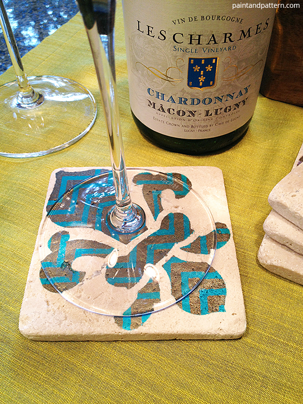 French style wine glass coaster DIY via Paint + Pattern