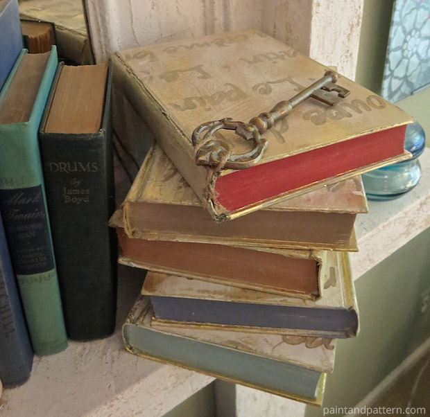 Accessorizing with antique keys for Stenciled and Gilded book cover DIY   Paint + Pattern