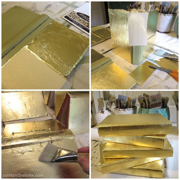 Applying gold leaf to book covers for Stenciled and Gilded book cover DIY | Paint + Pattern