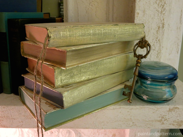 Distressing and accessorizing for Stenciled and Gilded book cover DIY | Paint + Pattern
