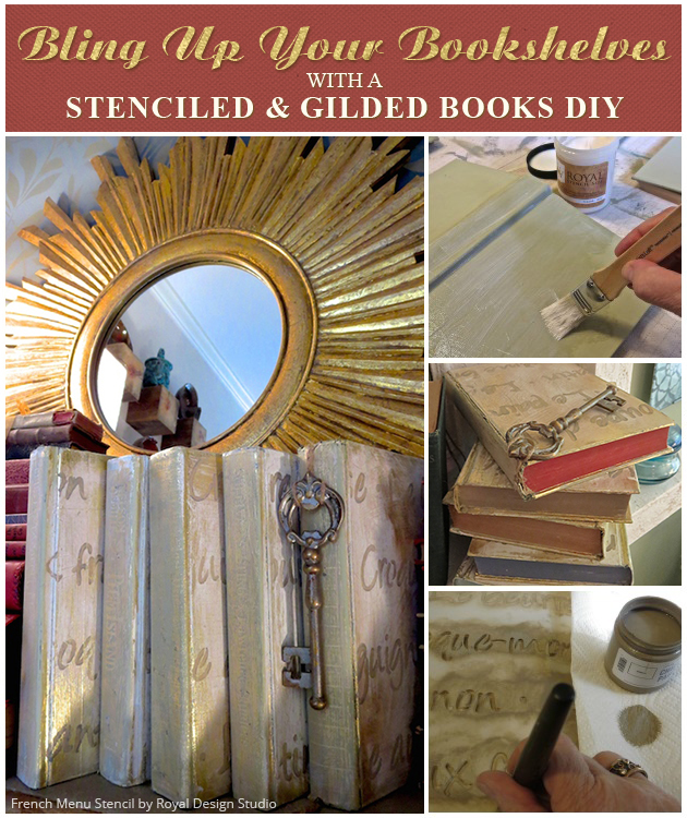 Stenciled and Gilded Books DIY via Paint + Pattern