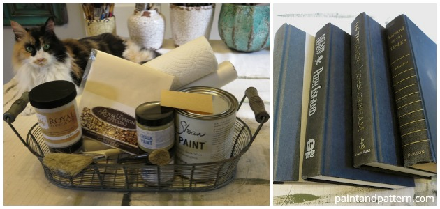 Supplies for stenciled and gilded books DIY | Paint + Pattern