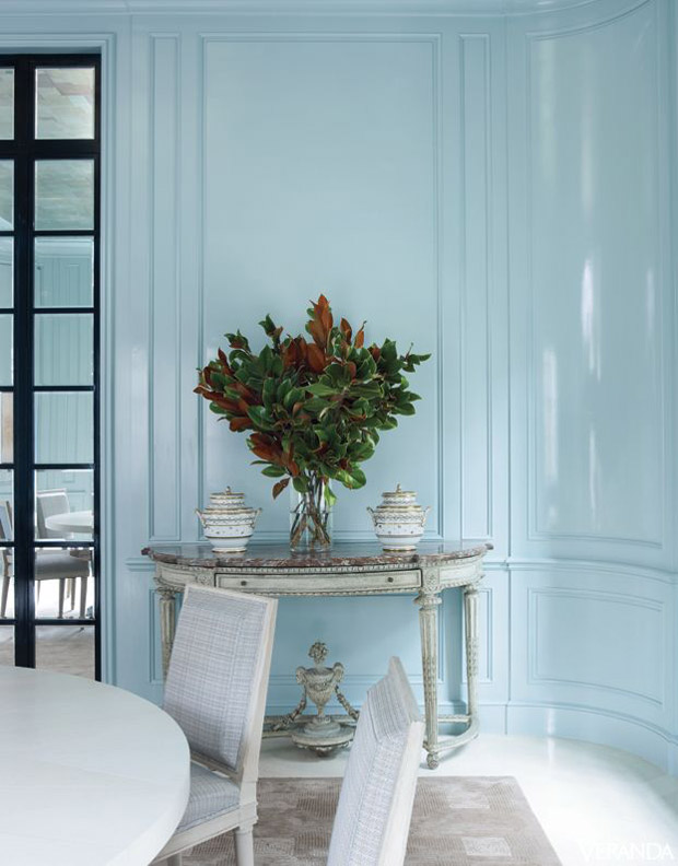 High gloss boiserie via Paint + Pattern