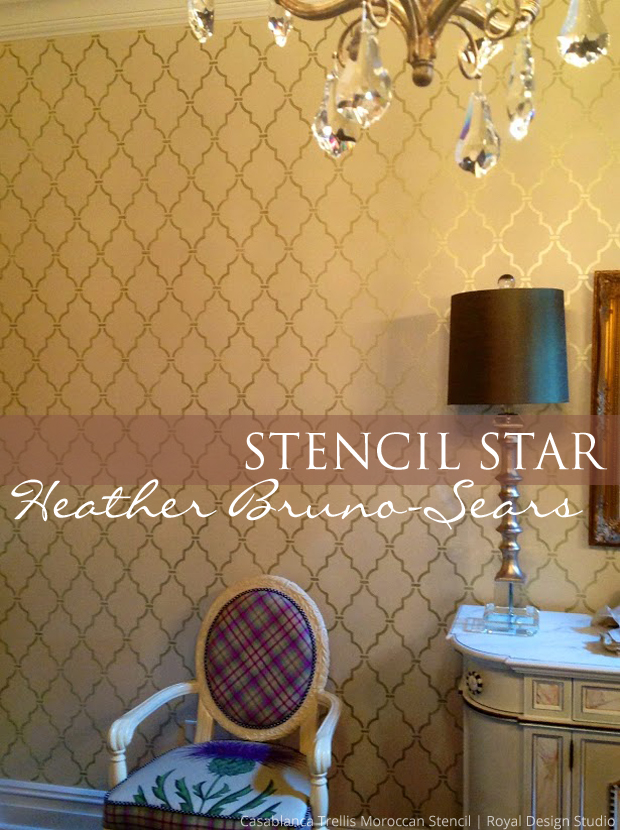 Stencil Star Heather Bruno-Sears via Paint + Pattern | Moroccan Trellis Stencil by Royal Design Studio