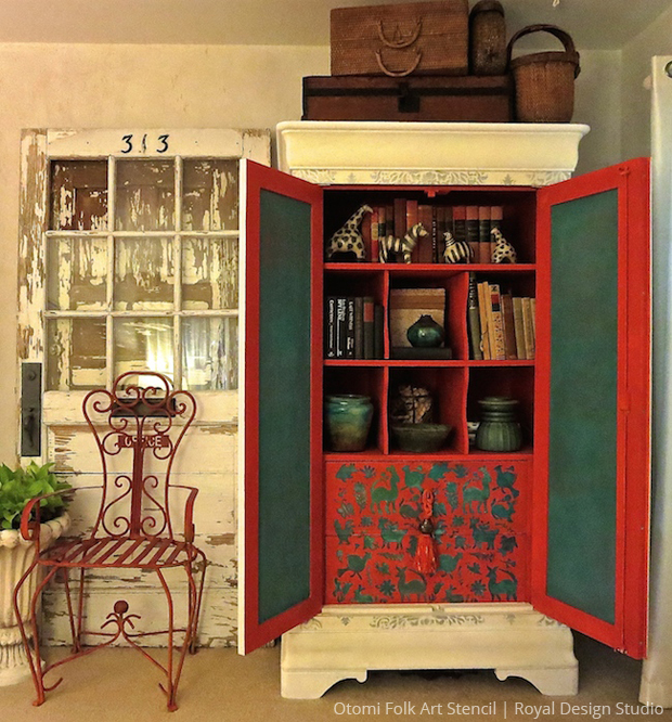 DIY Stenciled Cupboard | Otomi Folk Art Stencil by Royal Design Studio | Paint + Pattern