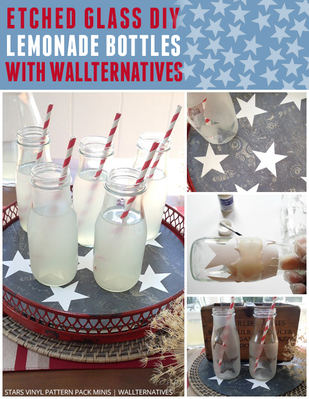 Etched Glass Bottles DIY with Stars Vinyl Pattern Pack Minis by Wallternatives | Paint + Pattern