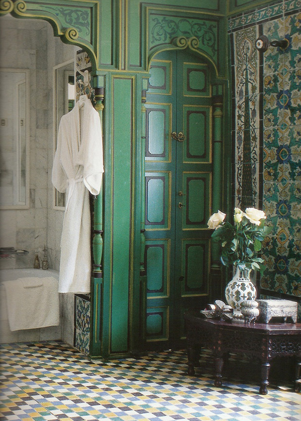 Ornamental boiserie in a luxurious bath via Paint + Pattern