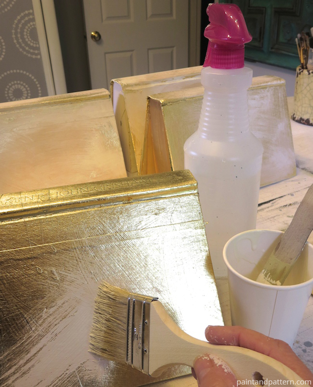 Layering gold leaf with chalk paint to get vintage look for Stenciled and Gilded book cover DIY | Paint + Pattern