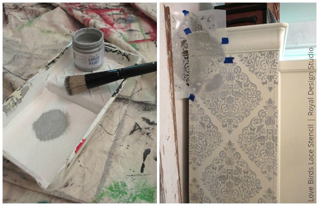 DIY stenciled cabinet using Paris Gray Chalk Paint on Love Birds Lace stencil by Royal Design Studio | Paint + Pattern