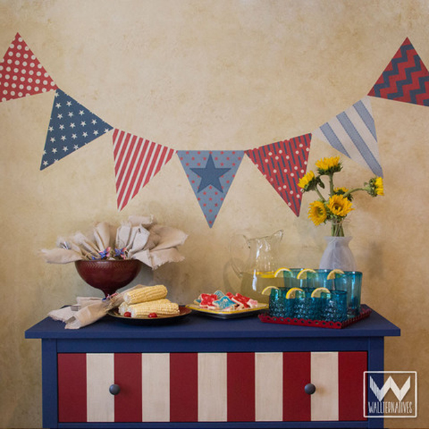 4th of July party decorating with wall decals. Patriotic Bunting flags from Wallternatives™