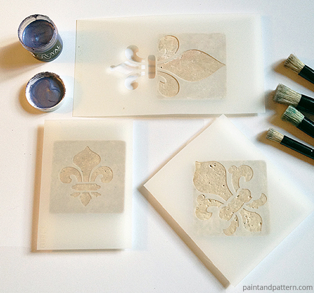 The various stencil placements on the tile of for the coasters DIY via Paint + Pattern