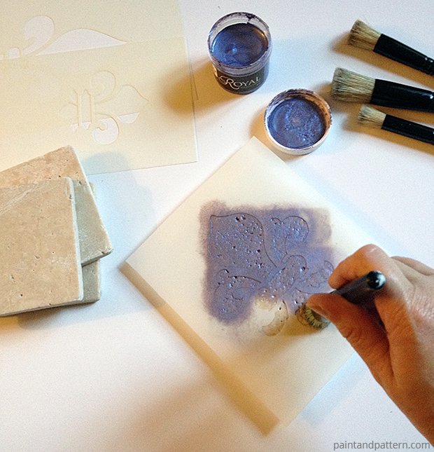 Pouncing with the Stencil Brush for stenciled coasters DIY via Paint + Pattern