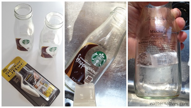 Removing the label from bottles for DIY Etched Glass Bottles | Paint and Pattern