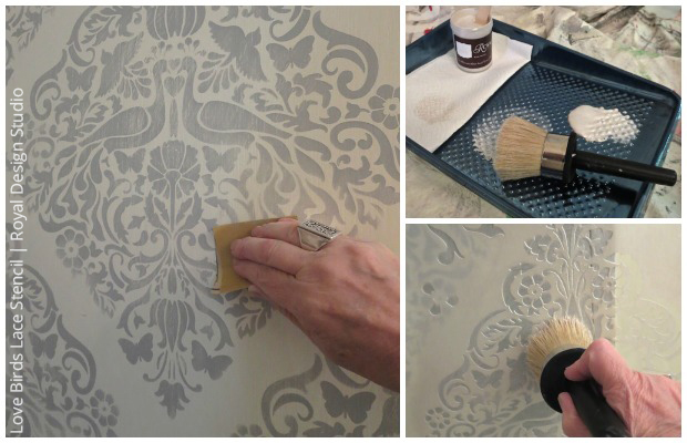 Sanding and Layering with Pearl White Chalk Paint for DIY stenciled cabinet | Paint + Paint