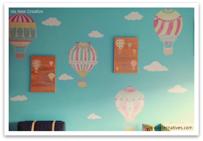 Hot air balloons wallprints™ fabric decals by Wallternatives via Sew Creative