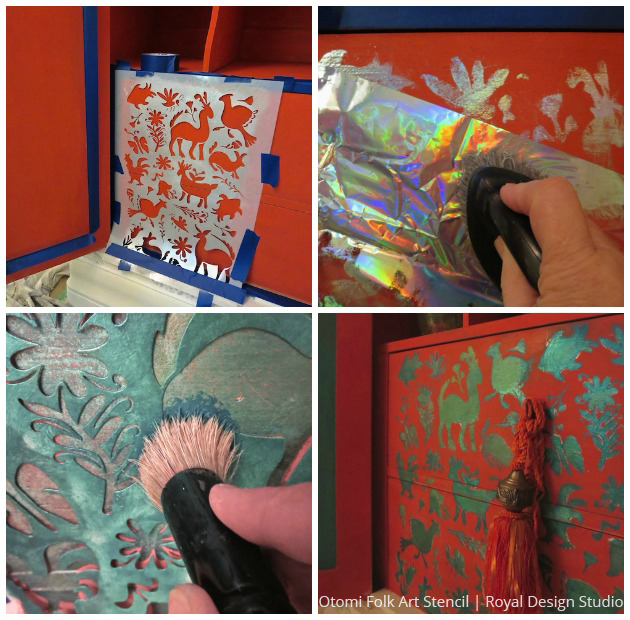 DIY stenciled cabinet   Silver Foil and Peacock Fancy Royal Stencil Creme application   Paint + Pattern