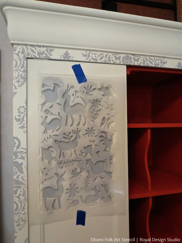 DIY Stenciled Cabinet using Large Otomi Folk Art Stencil by Royal Design Studio | Paint + Pattern