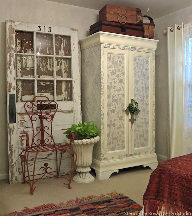 A Shabby Chic DIY Stenciled Cabinet with a Surprise