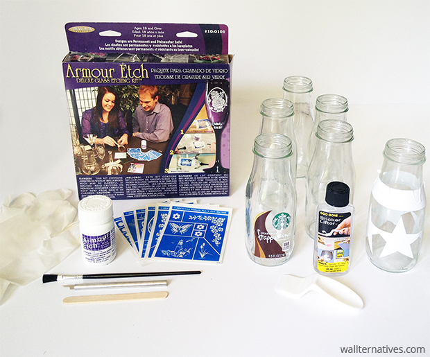 Supplies for DIY Etched Glass Bottles DIY | Paint + Pattern