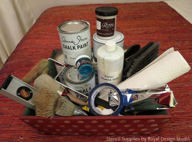 Stencil supplies by Royal Design Studio for a DIY stenciled cabinet via Paint + Pattern