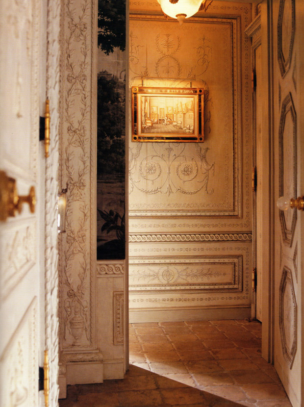 Hallway painted with trompe l'oeil via Paint + Pattern