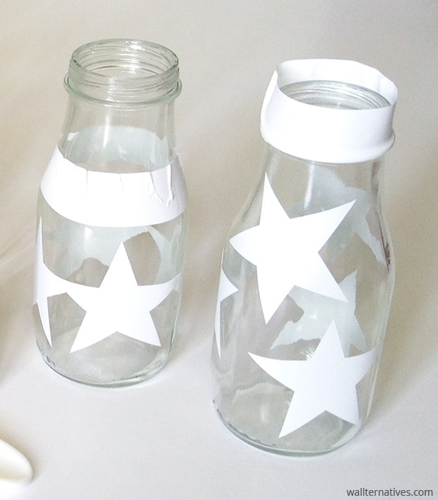 Wallternatives Star Vinyl Masks on Glass Bottles via Paint + Pattern