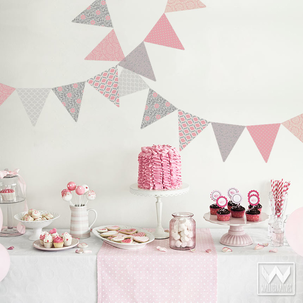 Little girls party decorating with wall decals. Garden Pennant Bunting flags from Wallternatives™