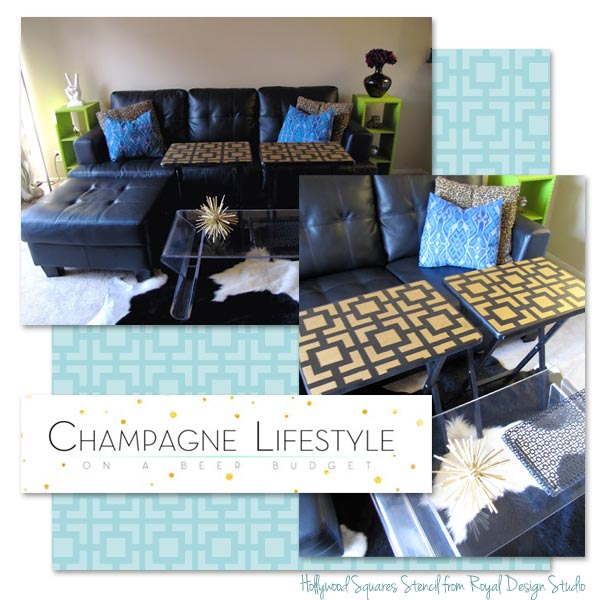 Stenciled Tabletop using Modern Hollywood Squares stencil by Royal Design Studio via Paint + Pattern
