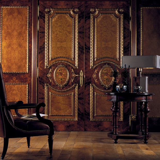 Classic gilded tone on tone boiserie via Paint + Pattern