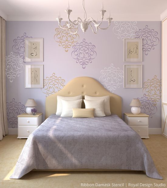 Wonderful Wall Motif Stencil Ideas Paint Pattern