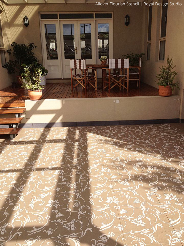 Stenciled Concrete Floor | Allover Flourish Stencil by Royal Design Studio