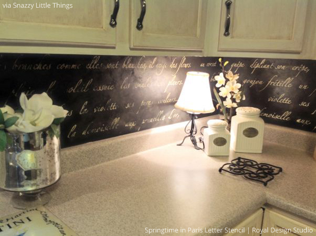 Springtime In Paris Letter Stencil Kitchen Backsplash Via Snazzy Little  Things | Paint + Pattern