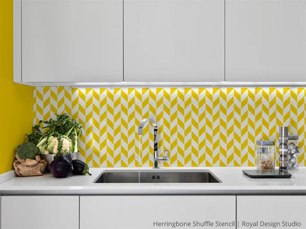 Herringbone Pattern Furniture Stencil Kitchen Backsplash | Paint + Pattern