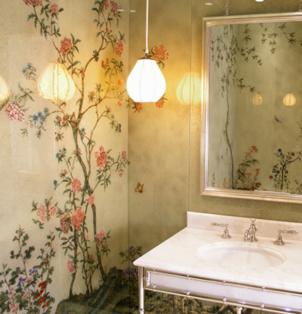 Chinoiserie Bathroom walls by decorative glass artist Miriam Ellner | Paint + Pattern