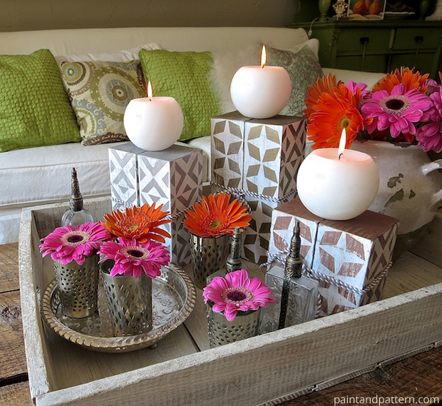 DIY Stenciled Chunky Candlesticks | Paint + Pattern