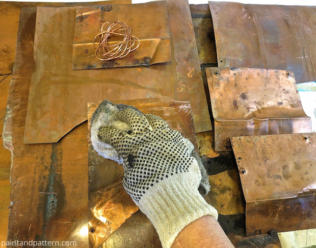 Cleaning copper for DIY stenciled outdoor metal artwork | Paint + Pattern