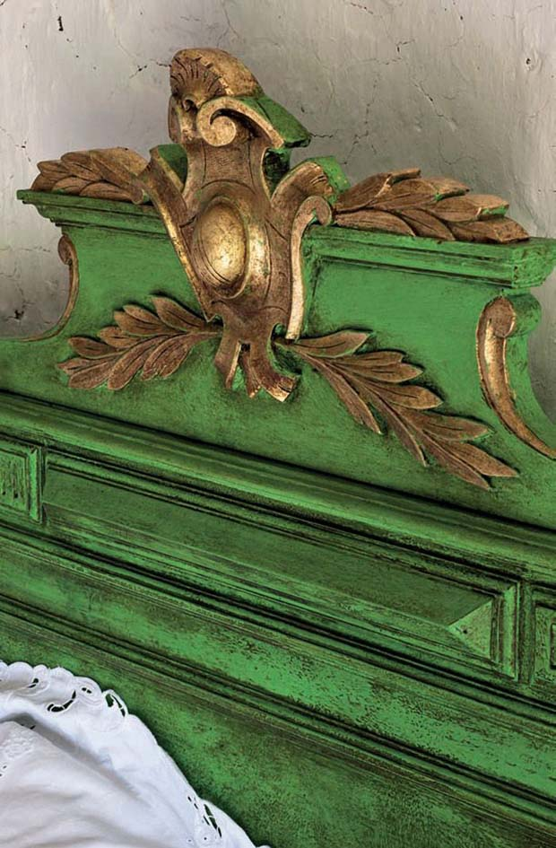 French Napoleonic bed is painted with Antibes Green Chalk Paint® | Paint + Pattern