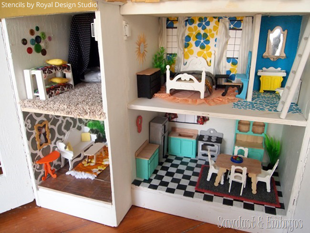 A Diy Stenciled Dollhouse Paint Pattern