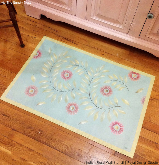 Indian Floral Wall Stencil on Floorcloth via The Empty Nest | Paint + Pattern