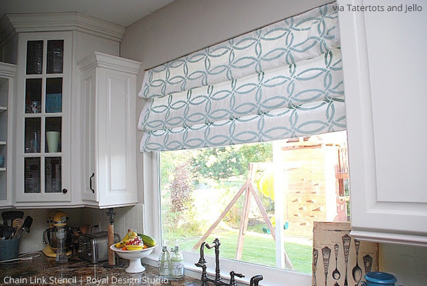 Chain Link Stencil on Roman Blinds via Tatertots and Jello | Paint + Pattern