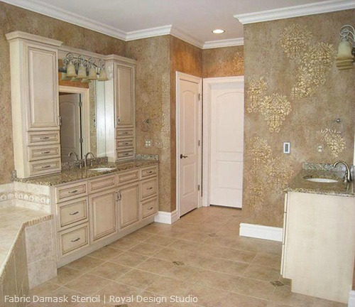 Fabric-Damask-Stencil-Master-Bathroom-Walls-Broad-Spectrum