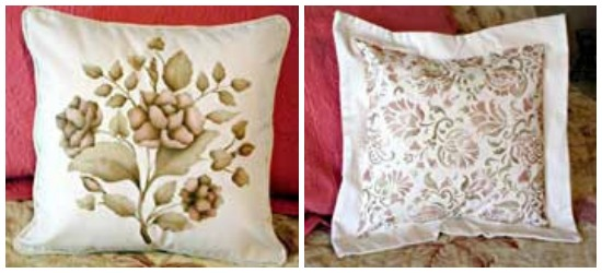 Flange - Rose Stenciled Fabric Pillow