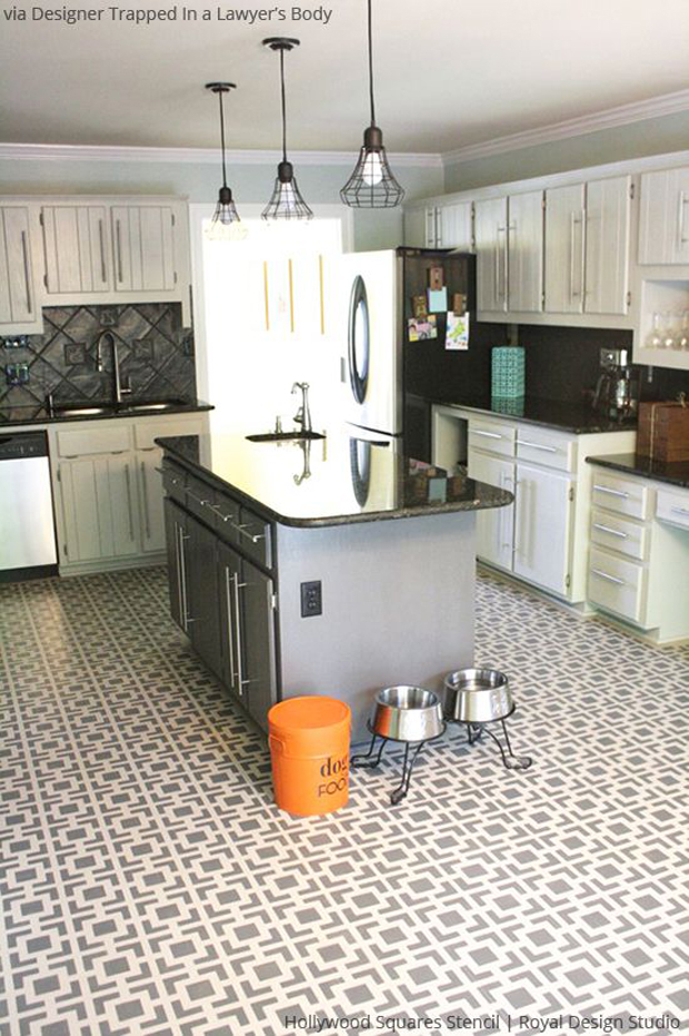 Hollywood Squares Stencil Floor via Designer Trapped in a Lawyer's Body| Paint + Pattern