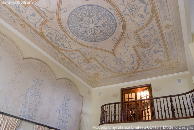 Grand Entry with Custom Modello Stencil on Ceiling and Treatments by Gina Wolfrum using Modello Designs | Paint + Pattern