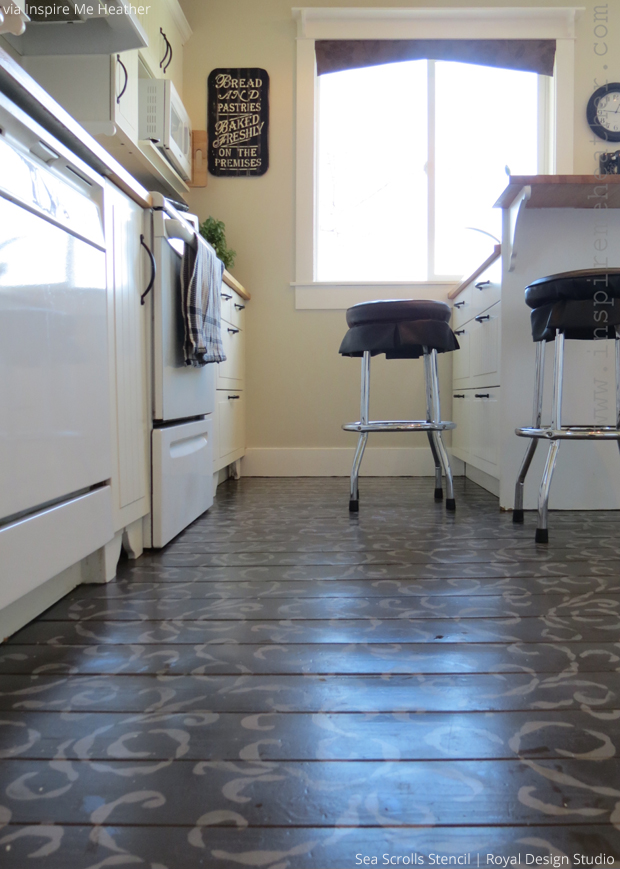 Stylishly stenciled floors paint pattern for Inspire flooring