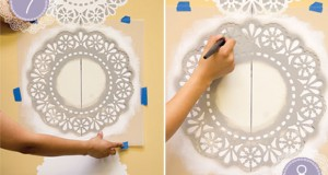 Stencil How-to: Lace Doily Stripe Wall Decor